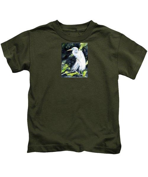 Miss April - Great Egret Kids T-Shirt
