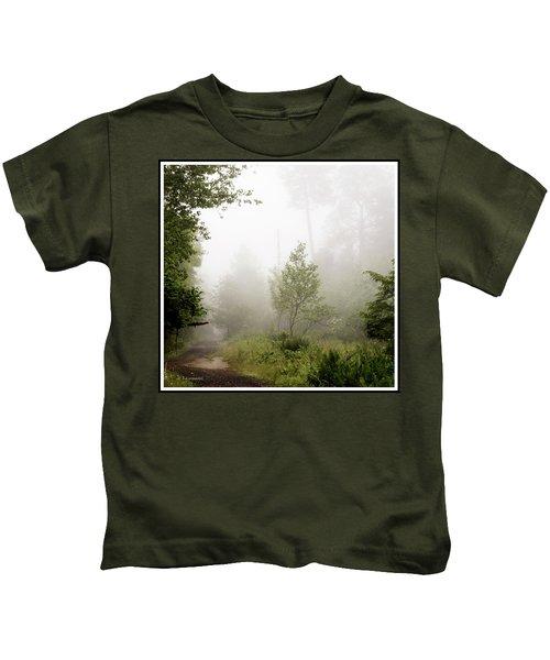 Misty Road At Forest Edge, Pocono Mountains, Pennsylvania Kids T-Shirt