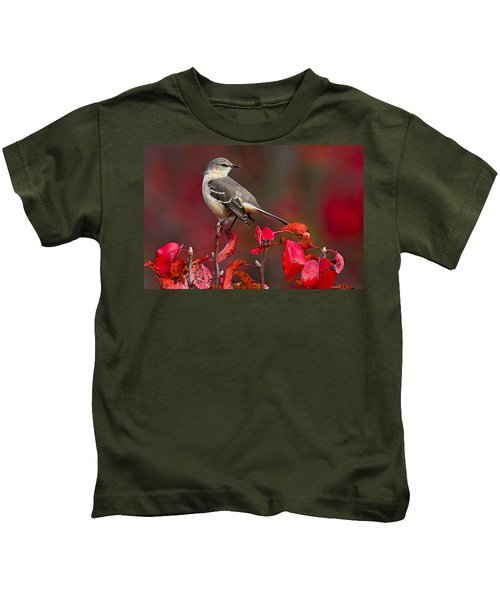 Kids T-Shirt featuring the photograph Mockingbird On Red by William Jobes