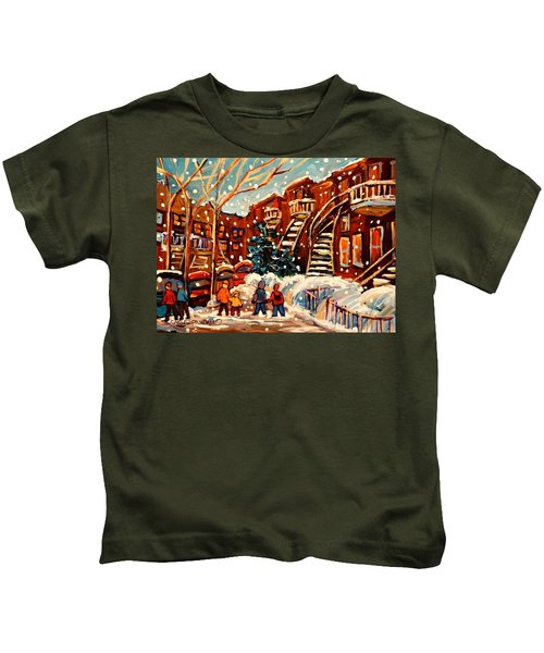 Montreal Street In Winter Kids T-Shirt