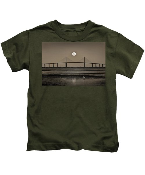 Moonrise Over Skyway Bridge Kids T-Shirt