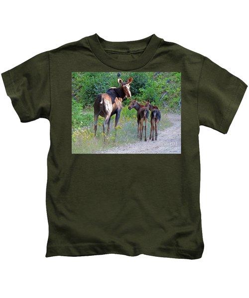 Moose Mom And Babies Kids T-Shirt