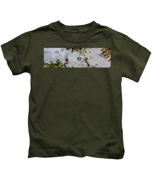 Mountain Lion Tracks In Snow Kids T-Shirt