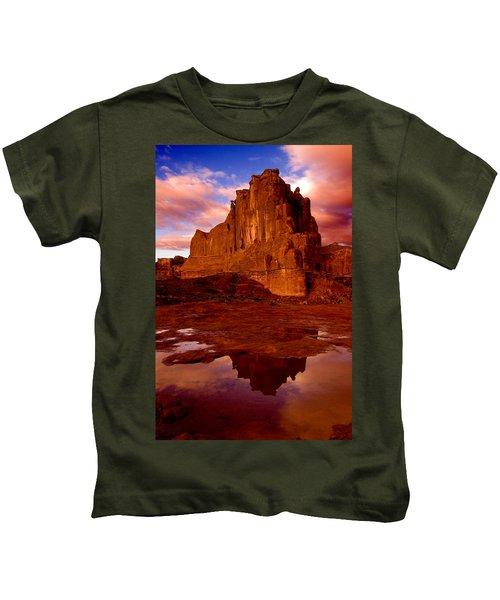 Mountain Sunrise Reflection Kids T-Shirt