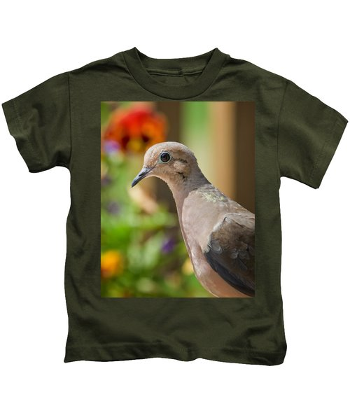 Mourning Dove And Flowers Kids T-Shirt