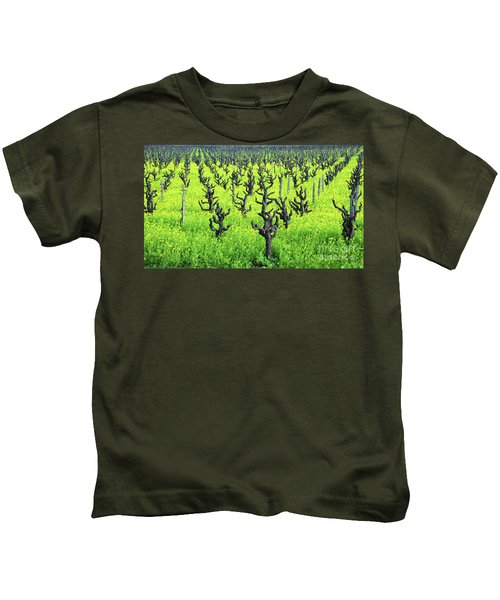 Mustard Flowers In The Vineyards Kids T-Shirt