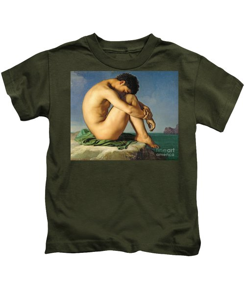 Naked Young Man Sitting By The Sea, 1836 Kids T-Shirt