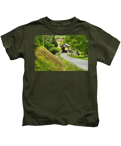 New Baltimore Covered Bridge Through The Forest Kids T-Shirt