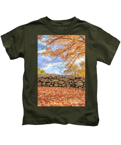 New England Stone Wall With Fall Foliage Kids T-Shirt