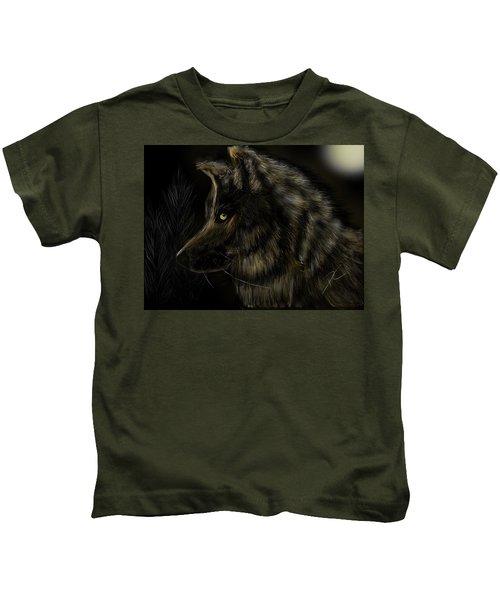 Night Silent Wolf Kids T-Shirt