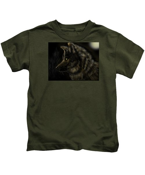 Night Silent Wolf Kids T-Shirt