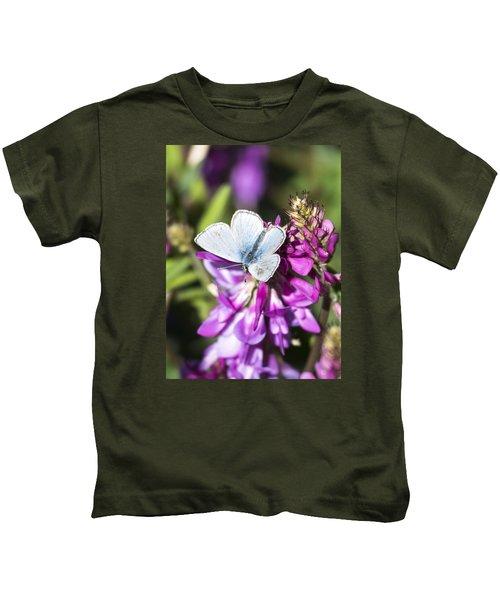 Northern Blue Butterfly Kids T-Shirt