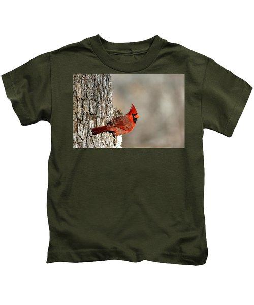 Northern Cardinal On Tree Kids T-Shirt
