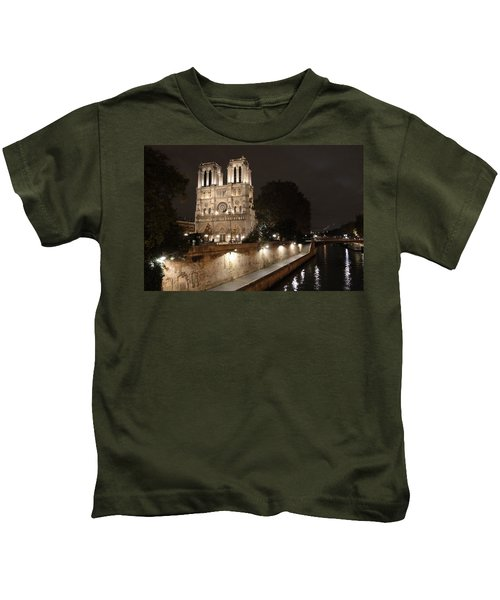 Notre Dame Cathedral From Petit Pont Kids T-Shirt