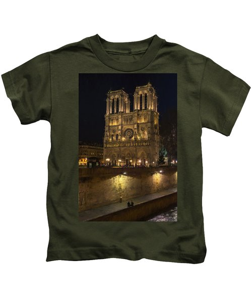 Notre Dame Night Painterly Kids T-Shirt