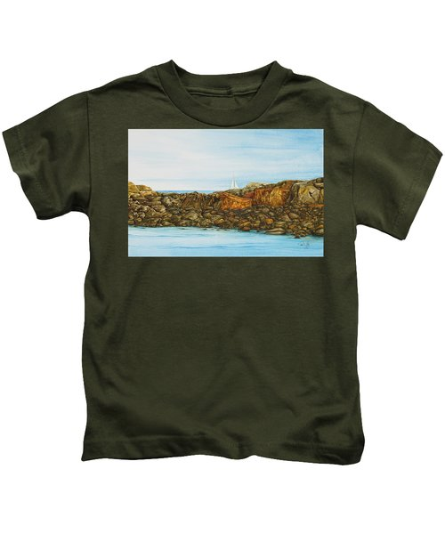 Ogunquit Maine Sail And Rocks Kids T-Shirt