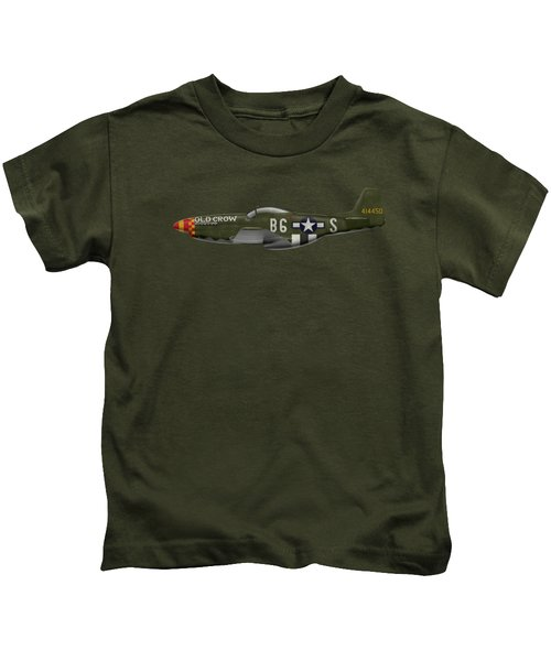 Old Crow - P-51 D Mustang Kids T-Shirt by Ed Jackson