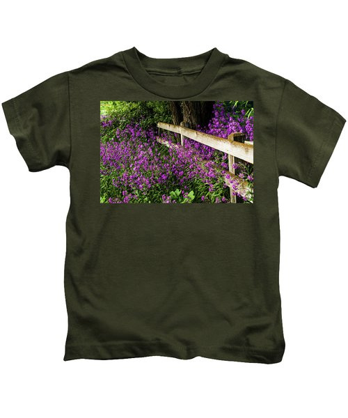 Old Fence And Purple Flowers Kids T-Shirt