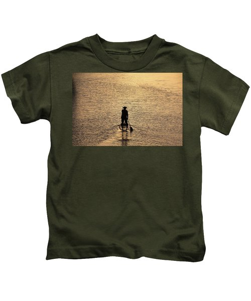 Old Man Paddling Into The Sunset Kids T-Shirt