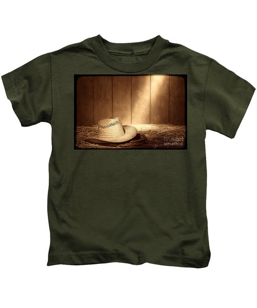 Old West Farmer Hat Kids T-Shirt