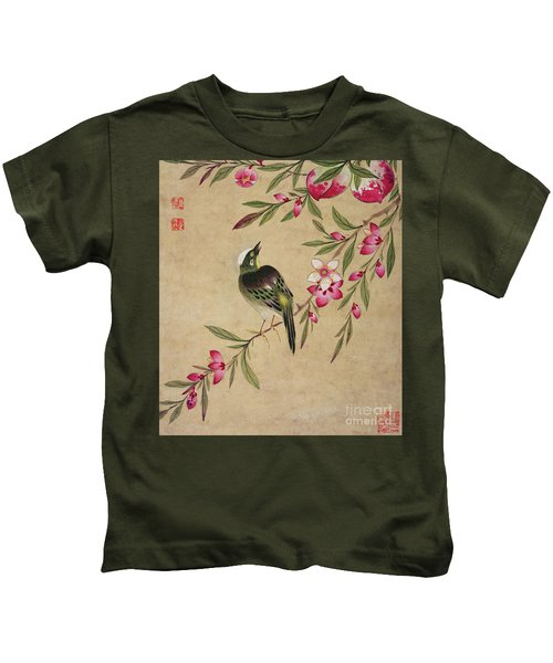 One Of A Series Of Paintings Of Birds And Fruit, Late 19th Century Kids T-Shirt