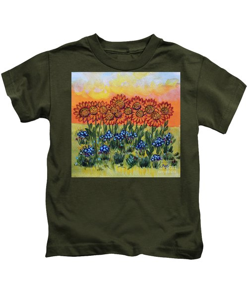 Orange Sunset Flowers Kids T-Shirt