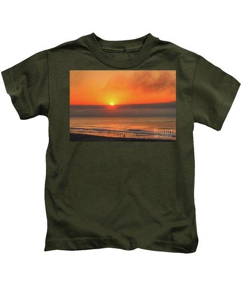 Orange Sunrise On Long Beach Island Kids T-Shirt