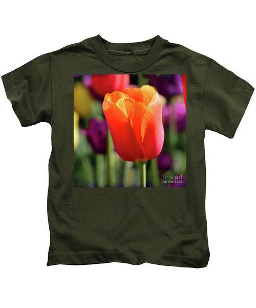 Orange Tulip Square Kids T-Shirt