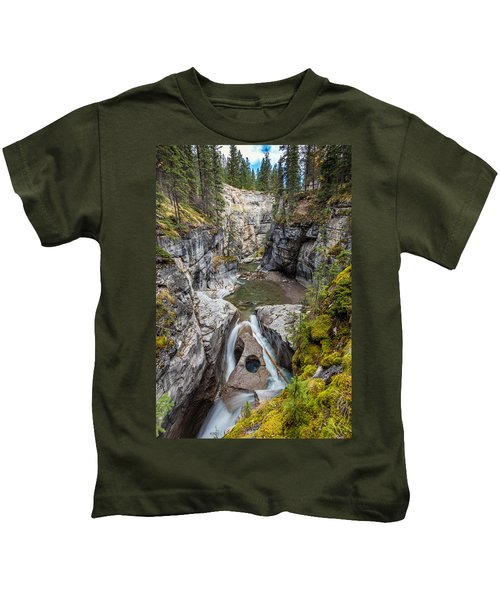 Owl Face Falls Of Maligne Canyon Kids T-Shirt