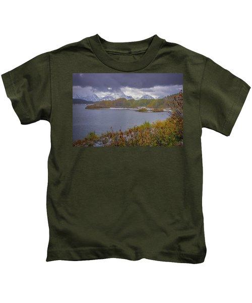 Oxbow Bend Fall Snowfall Kids T-Shirt