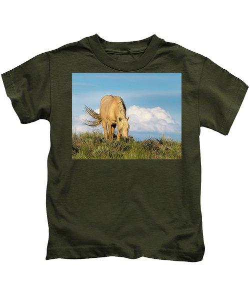 Palomino Wild Stallion In The Evening Light Kids T-Shirt
