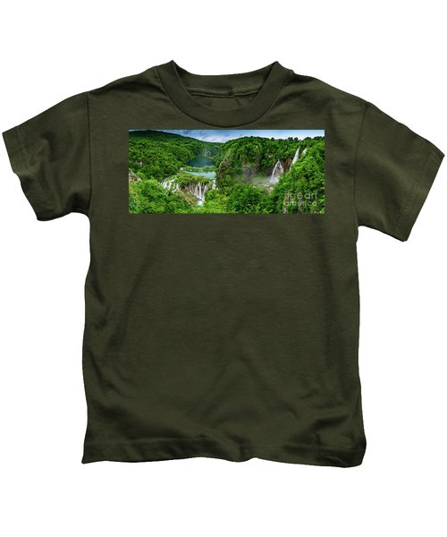 Panorama Of Turquoise Lakes And Waterfalls - A Dramatic View, Plitivice Lakes National Park Croatia Kids T-Shirt