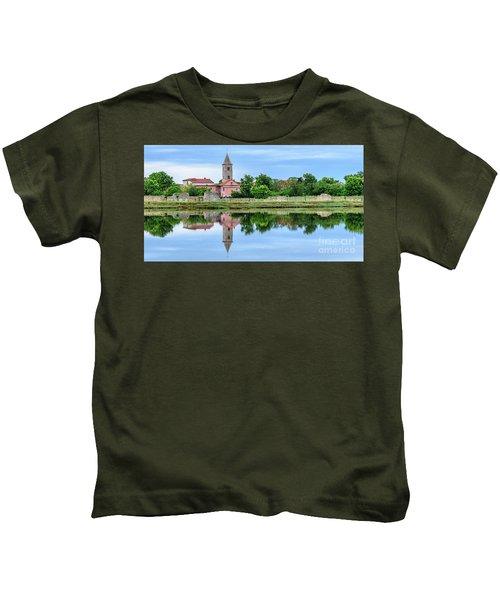 Panoramic Reflections Of Nin, Croatia Kids T-Shirt