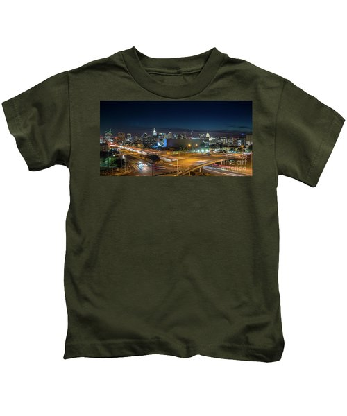 Panoramic View Of Busy Austin Texas Downtown Kids T-Shirt