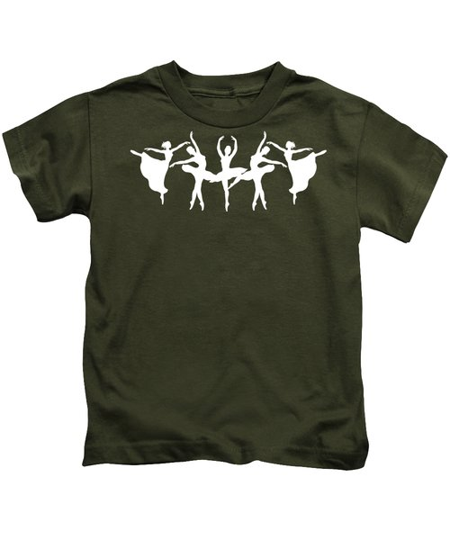 Passionate Dance White Ballerinas Silhouettes Kids T-Shirt