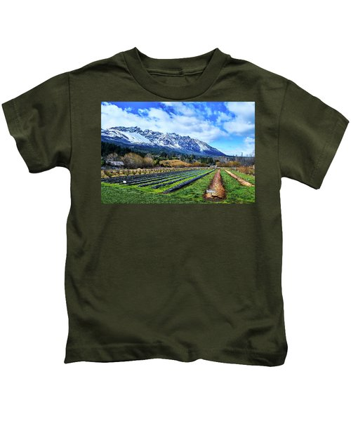 Landscape With Mountains And Farmlands In The Argentine Patagonia Kids T-Shirt