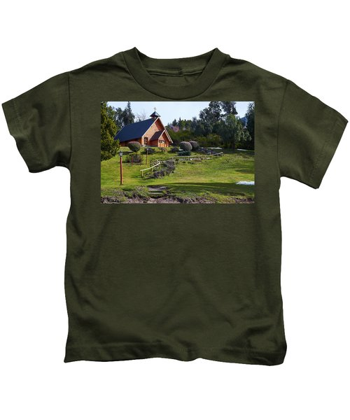 Rustic Church Surrounded By Trees In The Argentine Patagonia Kids T-Shirt