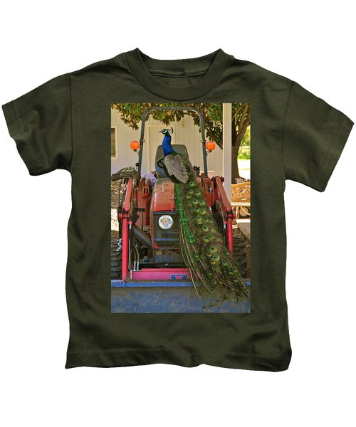 Peacock And His Ride Kids T-Shirt