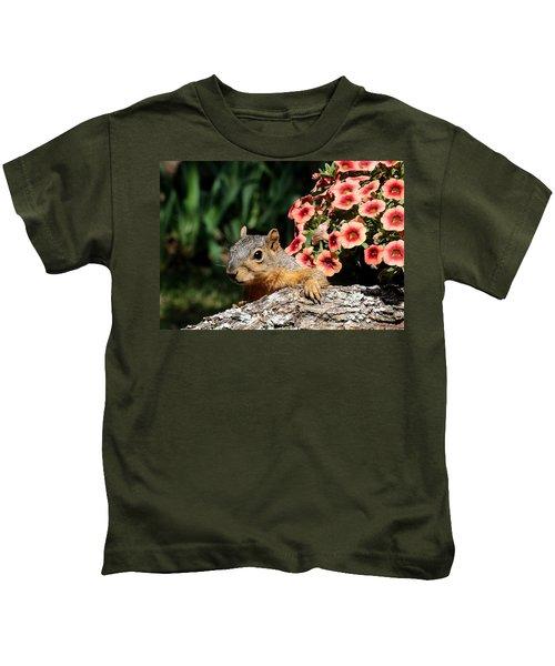 Peek-a-boo Squirrel Kids T-Shirt