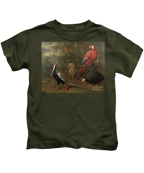 Pheasant Macaw Monkey Parrots And Tortoise  Kids T-Shirt