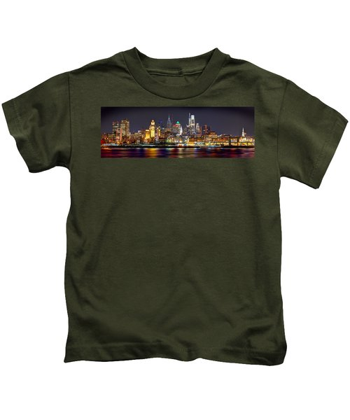 Philadelphia Philly Skyline At Night From East Color Kids T-Shirt