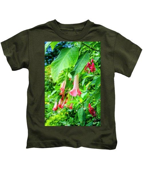 Pink Bell Flowers Kids T-Shirt