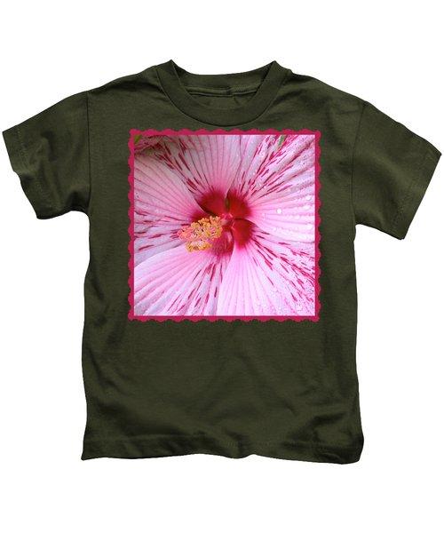 Pink Hibiscus Macro Kids T-Shirt
