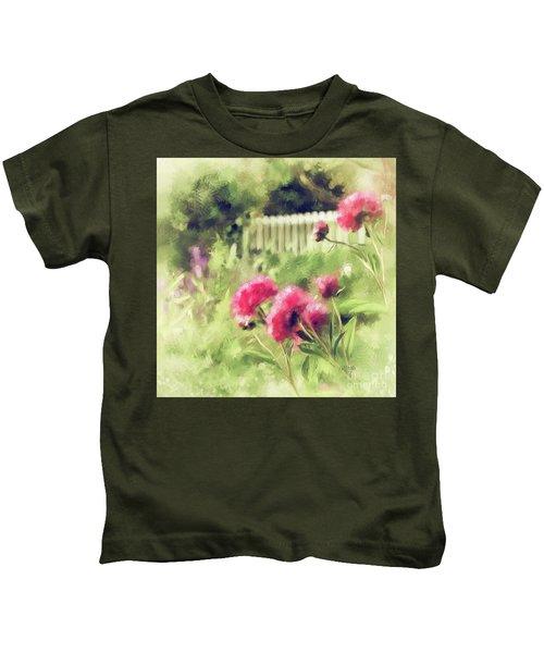 Pink Peonies In A Vintage Garden Kids T-Shirt