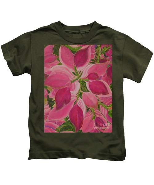 Pink Poinsettia Kids T-Shirt