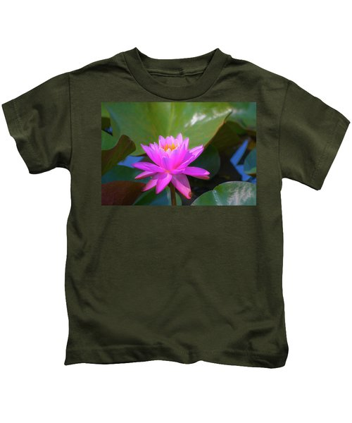Pink Water Lilly And Ladybugs Kids T-Shirt