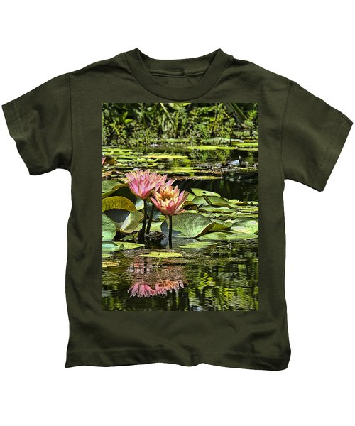 Pink Water Lily Reflections Kids T-Shirt