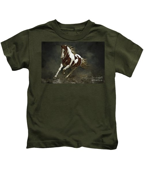 Pinto Horse In Motion Kids T-Shirt