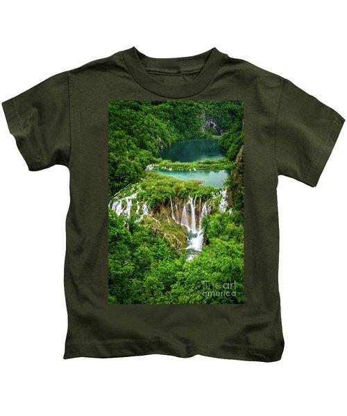Plitvice Lakes National Park - A Heavenly Crystal Clear Waterfall Vista, Croatia Kids T-Shirt
