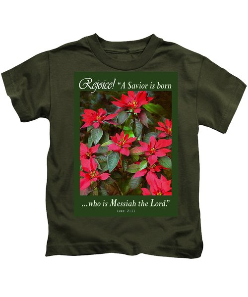 Poinsettia Christmas Kids T-Shirt
